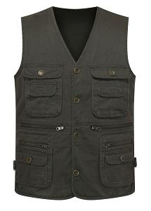 7. Wantdo men's Multiple Pockets Cotton safari Fishing Vest