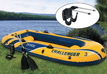 8. INTEX Challenger 3 Boat Set Inflatable
