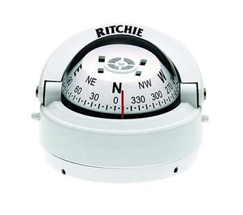 4. Ritchie Explorer Compass Dial With Surface Mount And 12V Green Night Lighting (White, 2 3/4-Inch)