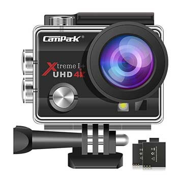 1. Campark ACT74 Action Camera 16MP 4K WiFi Waterproof Sports Cam 170 Degree Ultra Wide Angle Lens with 2 Pcs Rechargeable Batteries and Mounting Accessories Kits