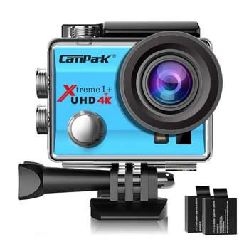 2. Campark ACT74 Action Camera 4K WiFi Waterproof Sports Camera 170 Degree Ultra Wide Angle Lens with 2 Pcs Rechargeable Batteries and Helmet Accessories Kits (Blue)