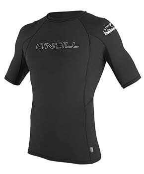 6. O'Neill Men's Basic Skins UPF 50+ Short Sleeve Rash Guard