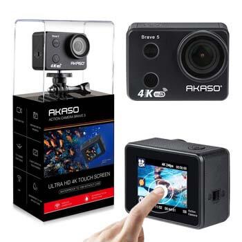 5. AKASO Brave 5 4K Touchscreen Waterproof WIFI Action Camera 4K Ultra HD 20MP 10M Underwater Waterproof Camera