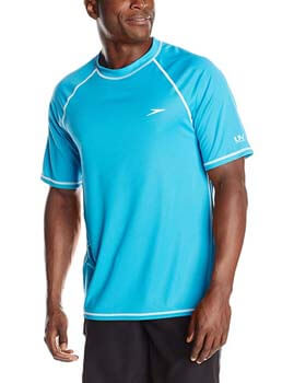 1. Speedo Men's UPF 50+ Easy Short Sleeve Rashguard Swim Tee