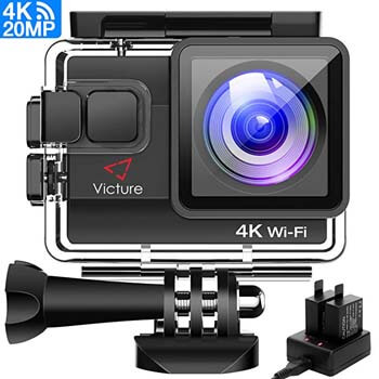 8. Picture 4K Action Camera 20MP WIFI Underwater Camera Diving 40 Meter Waterproof Sports Cam with 2 Rechargeable