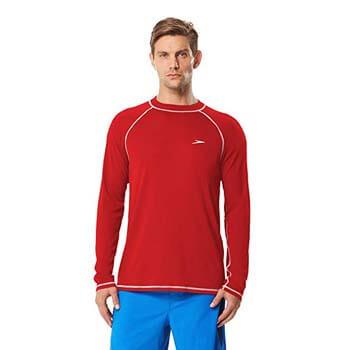 3. Speedo Men's UPF 50+ Easy Long Sleeve Rashguard Swim Tee