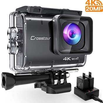 7. Crosstour Action Camera Real 4K 20MP WiFi Underwater Cam 40M with EIS Anti-Shake Time-Lapse Recording Plus 2