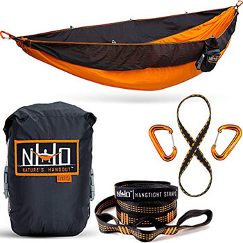 8. The HangEasy Portable Camping Hammock - Free Premium Adjustable Hanging Straps & Ultralight Carabiners. Tear Resistant Parachute Nylon. Large Double Size, Lightweight & Easy To Fit In Your Backpack