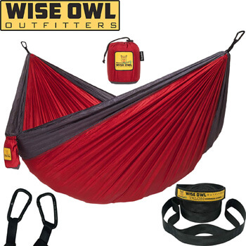 1. Wise Owl Outfitters Hammock Camping Double & Single with Tree Straps - USA Based Hammocks Brand Gear, Indoor Outdoor Backpacking Survival & Travel, Portable