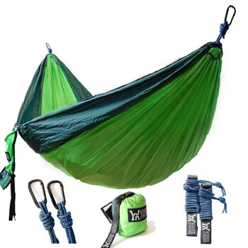 2. Winner Outfitters Double Camping Hammock - Lightweight Nylon Portable Hammock, Best Parachute Double Hammock for Backpacking, Camping, Travel, Beach, Yard.