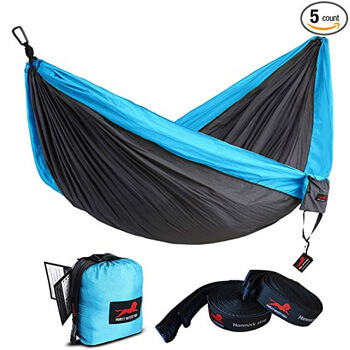 3. HONEST OUTFITTERS Single & Double Camping Hammock with Hammock Tree Straps,Portable Parachute Nylon Hammock for Backpacking Travel