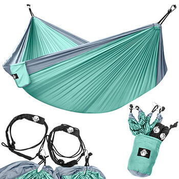 4.Legit Camping - Double Hammock - Lightweight Parachute Portable Hammocks for Hiking, Travel, Backpacking, Beach, Yard Gear Includes Nylon Straps & Steel Carabiners
