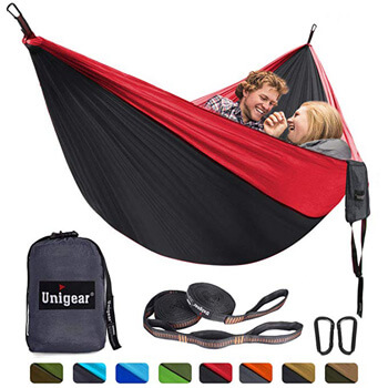 7. Unigear Single & Double Camping Hammock, Portable Lightweight Parachute Nylon Hammock with Tree Straps for Backpacking, Camping, Travel, Beach, Garden