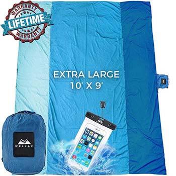 1: WELLAX Sandfree Beach Blanket - Huge Ground Cover 9' x 10'