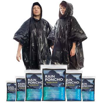 8: Foxelli Disposable Rain Ponchos (Family 6 Pack)