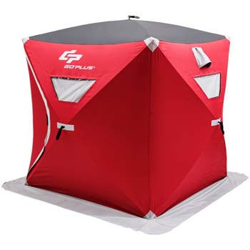 8: Goplus Portable Ice Shelter Pop-up Ice Fishing Tent Shanty w/Bag and Ice Anchors Red