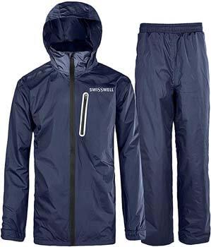 3. SWISSWELL Men's Rain Suit Waterproof Lightweight Hooded Rainwear