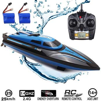 7. SZJJX RC Boat 2.4Ghz 25KM/H High Speed 4 Channels Remote Control Electric Racing Boat
