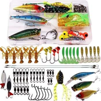 7. SUPERTHEO Fishing Lure Set Fishing Spoons Frog Lures