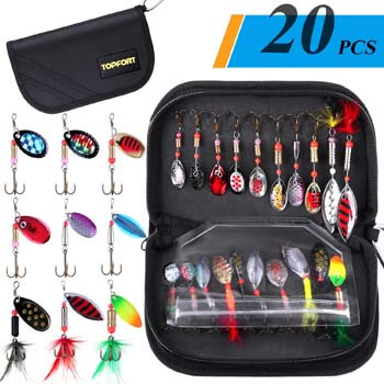 2. TOPFORT Fishing Lures, Fishing Spoon, Trout Lures, Bass Lures, Spinning Lures, Hard Metal Spinner Baits Kit