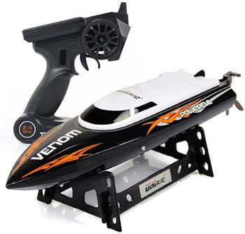 4. Cheerwing RC Racing Boat for Adults - High-Speed Electronic Remote Control Boat for Kids (Black+White)
