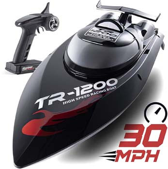 10. Top Race Remote Control RC Boat, Speed of 30 Mph, Auto Flip Recovery, 2.4 GHz Transmitter, Professional Series