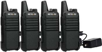 8. Retevis RT22 Walkie Talkies Rechargeable Long Range FRS VOX Emergency Alarm Channel Lock Secure Mini 2 Way Radio Adults Outdoor (4 Pack)
