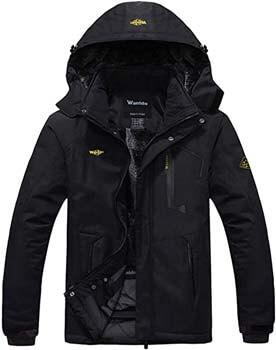 4. Wantdo Men's Winter Waterproof Hooded Fleece Ski Jacket Windproof Rain Parka
