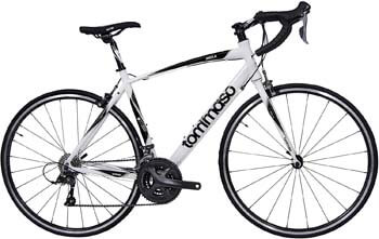 10. Tommaso Imola Endurance Aluminum Road Bike, Shimano Claris R2000, 24 Speeds, Black, White, Burnt Orange