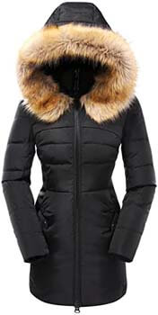2. Beinia Valuker Women's Down Coat with Fur Hood with 90% Down Parka Puffer Jacket