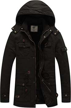 10. WenVen Men's Winter Thicken Cotton Parka Jacket Warm Coat with Removable Hood