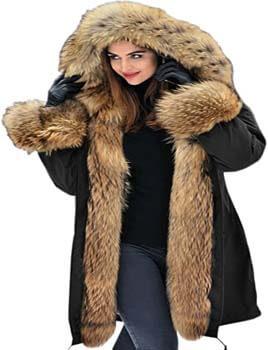 4. Aofur Women's Hooded Faux Fur Lined Warm Coats Parkas Anoraks Outwear Winter Long Jackets