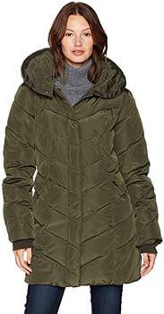 3. Steve Madden Women's Long Chevron Quilted Outerwear Jacket