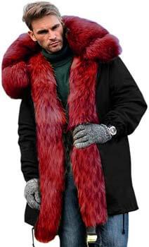 7. Aofur Men's Winter Warm Thick Faux Fur Slim Trench Coat Long Jacket Parka Hooded Pea Coat Winter Coat S-XXXL
