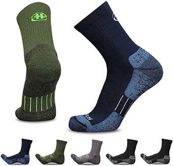 3. Heatuff Men's 3 & 5 Pack Hiking Micro Crew Socks Athletic Cushion Outdoor Trekking Sock Reinforced Heel and Toe