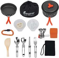 8. Bisgear 16 Pcs Camping Cookware Stove Carabiner Folding Spork Set