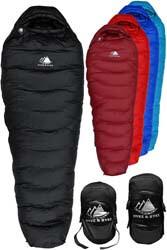 4. Hyke & Byke Snowmass 0 Degree F 650 Fill Power Hydrophobic Down Sleeping Bag