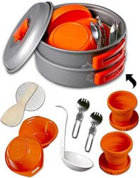 9. gear4U Camping Cookware Kits