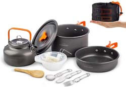2. Overmont 1.95 Liter (Pot+ Kettle) Camping Cookware Set