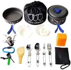 6. Gold Armour 17 Pieces Camping Cookware Mess Kit