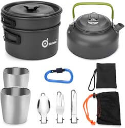 3. Odoland 10pcs Camping Cookware Mess Kit