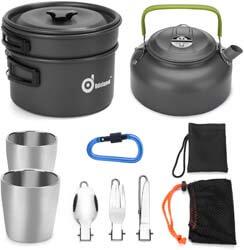 3. Odoland 10pcs Camping Cookware Mess Kit