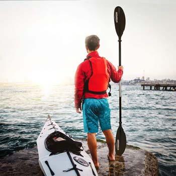 8. Overmont Kayak Paddle, Heavy Duty Aluminum Alloy Lightweight Boating Oar
