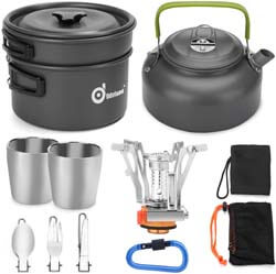 7. Odoland 12pcs Camping Cookware Mess Kit