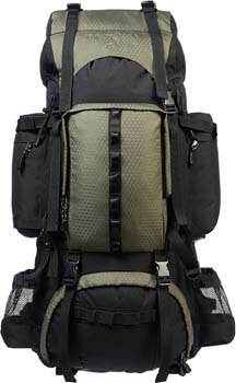 8. AmazonBasics Internal Frame Hiking Backpack with Rainfly