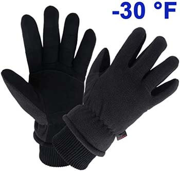 6. OZERO Winter Gloves Water Resistant Thermal Glove with Deerskin Suede Leather and Insulated Polar Fleece