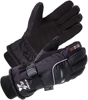 7. SKYDEER 3M Scotchgard -40 ℉ Waterproof & Windproof Genuine Deerskin Suede Leather Ski Gloves