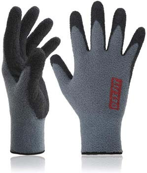 4. DEX FIT Warm Fleece Work Gloves NR450, Comfort Spandex Stretch Fit, Power Grip, Durable Water Based Nitrile Rubber Coating