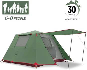 6. KAZOO Family Camping Tent Large Waterproof Pop Up Tents 4/6/8 Person Room Cabin Tent Instant Setup with Sun Shade Automatic Aluminum Pole