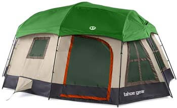 5. Tahoe Gear Ozark 3-Season 16 Person Large Family Cabin Tent